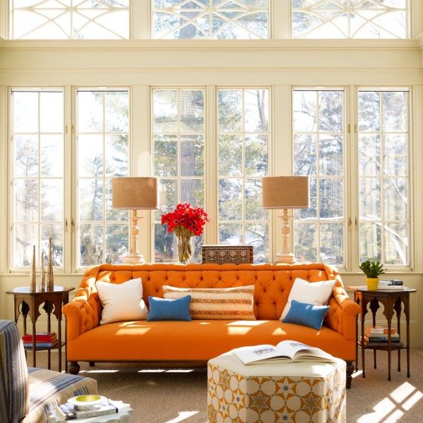 katie ridder book living room orange sofa cococozy
