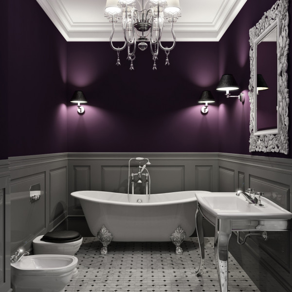 Lxurious interior of  bathroom in dark violet tone