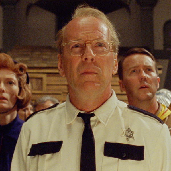 (L to R) Bill Murray as Mr. Bishop, Tilda Swinton as Social Services, Bruce Willis as Captain Sharp, Edward Norton as Scout Master Ward, and Frances McDormand as Mrs. Bishop in Wes Andersons MOONRISE KINGDOM, a Focus Features release.   Credit:  Focus Features