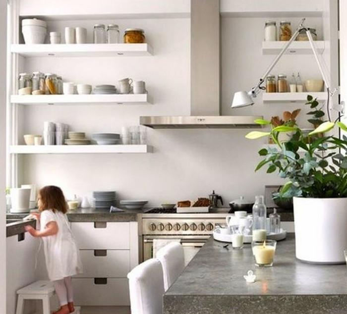 полки вместо подвесных шкафов на кухне фото