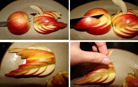Карвинг из яблока пошагово