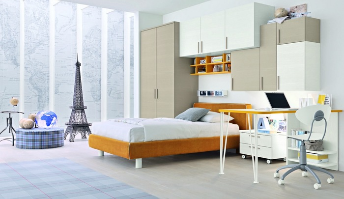 Orange white bedroom