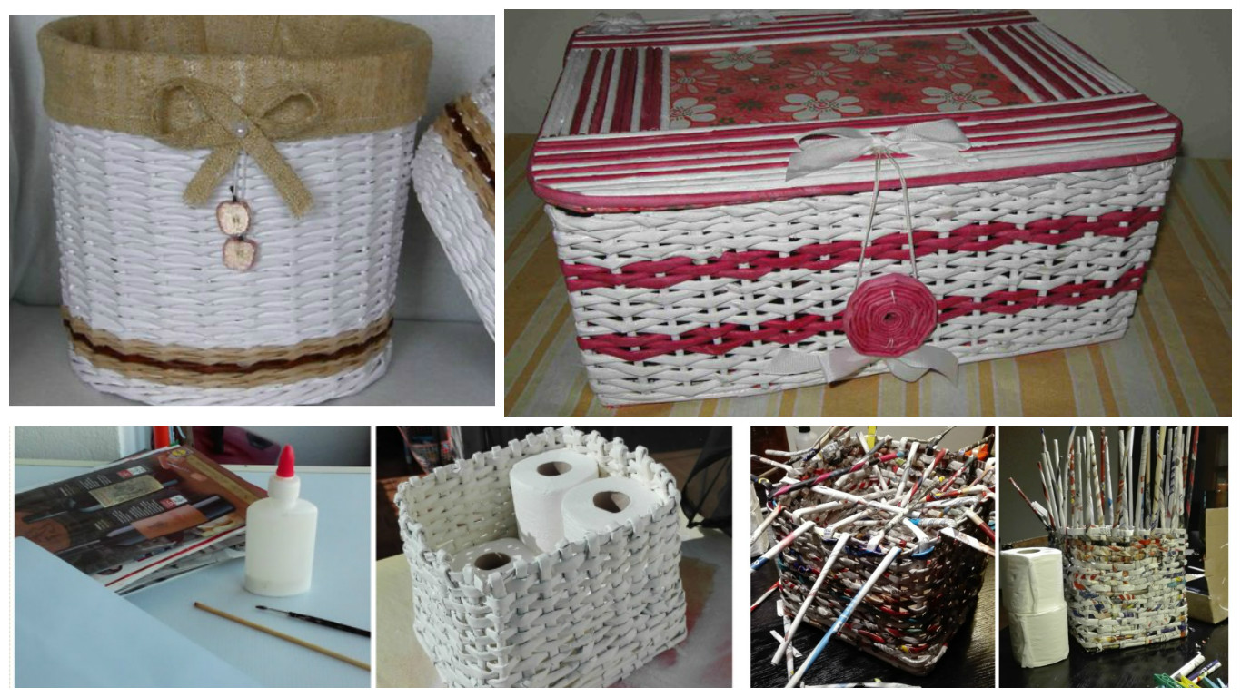 Плетеная корзинка из газеты своими руками фото 66