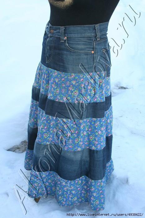 9b5c0555c206 юбка из старых джинсов своими руками