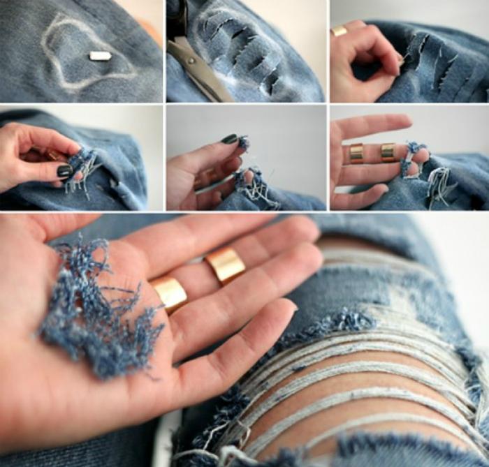 Как сделать из старых джинсов рваные джинсы
