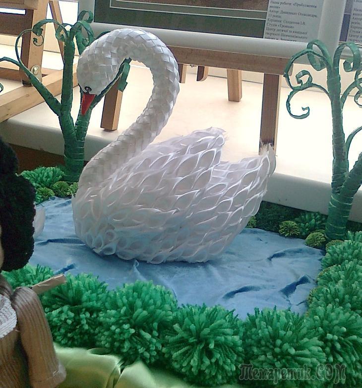 Лебедь из ленты атласной своими руками 47