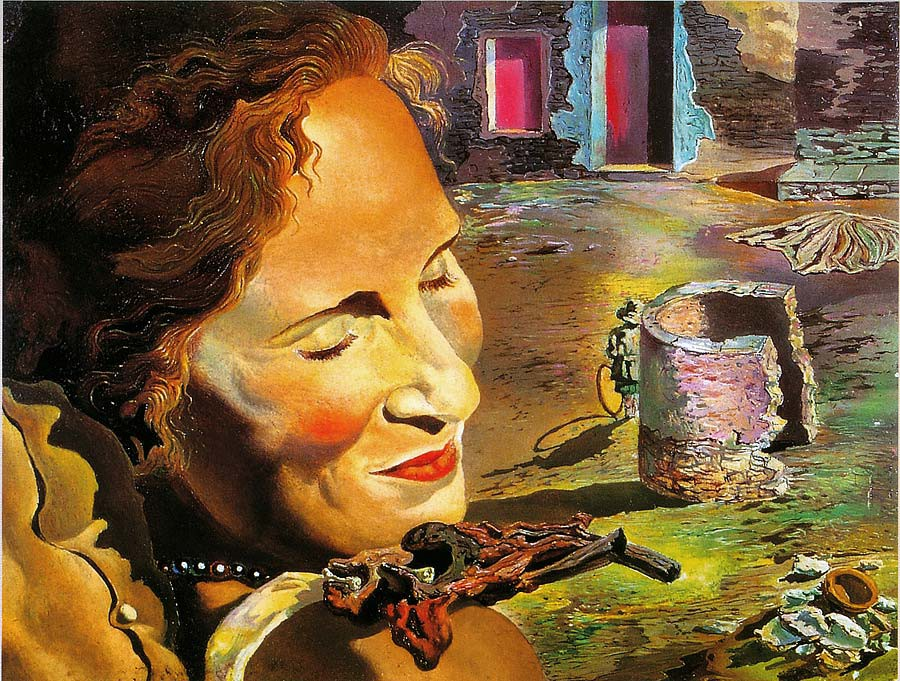 Картинки по запросу Сальвадор Даль. Портрет Гала, с двумя ребрышками ягненка, балансирующими на плече.