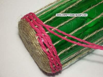 Плетение шпагатом бутыль руками видео